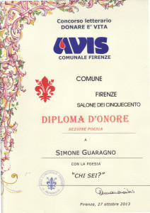 DIPLOMA D'ONORE DONARE E' VITA 2013